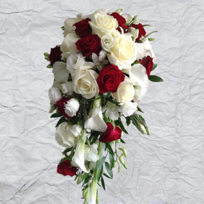 Flowers By Isabel Wedding Florist Red & White Cascade Shower