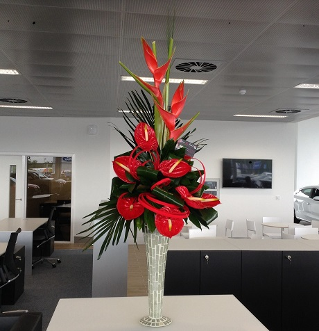 Flowers In Lanarkshire Stylish Red Anthurium and Heliconia modern flower arrangement