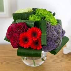 Flowers in Lanarkshire purple trachelium, rich red velvet germini and luscious lime green blooms