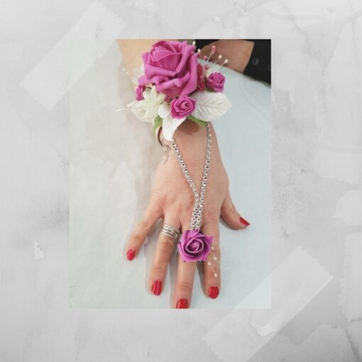 buy online 774f5 daf3b Beautiful Floral&Diamante pink ring and corsage body art ...